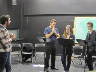 """""""April to April"""" (now titled """"Tinted Red"""") as staged reading at SUNY New Paltz- Directed by Adam Harrison (Rehearsal)"""