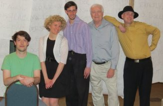 """With four fellow playwrights (Nate Beynon, Matt Side, Marty Egan, Stephen Henel) of """"The Lurid Coffee Stubbornly Betrays The Sedentary Scissors"""" at Confetti Stage Gala 2014"""