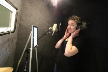 """Recording the part of Cassie for Psycho Jellyfish's """"Morbid Curiosities:Test Case"""", an audio drama"""